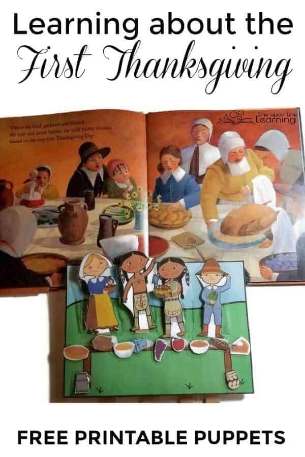 Learn about the First Thanksgiving by reading a great picture book and using these free printable puppets of Pilgrim and Indian (Wampanoag) children.