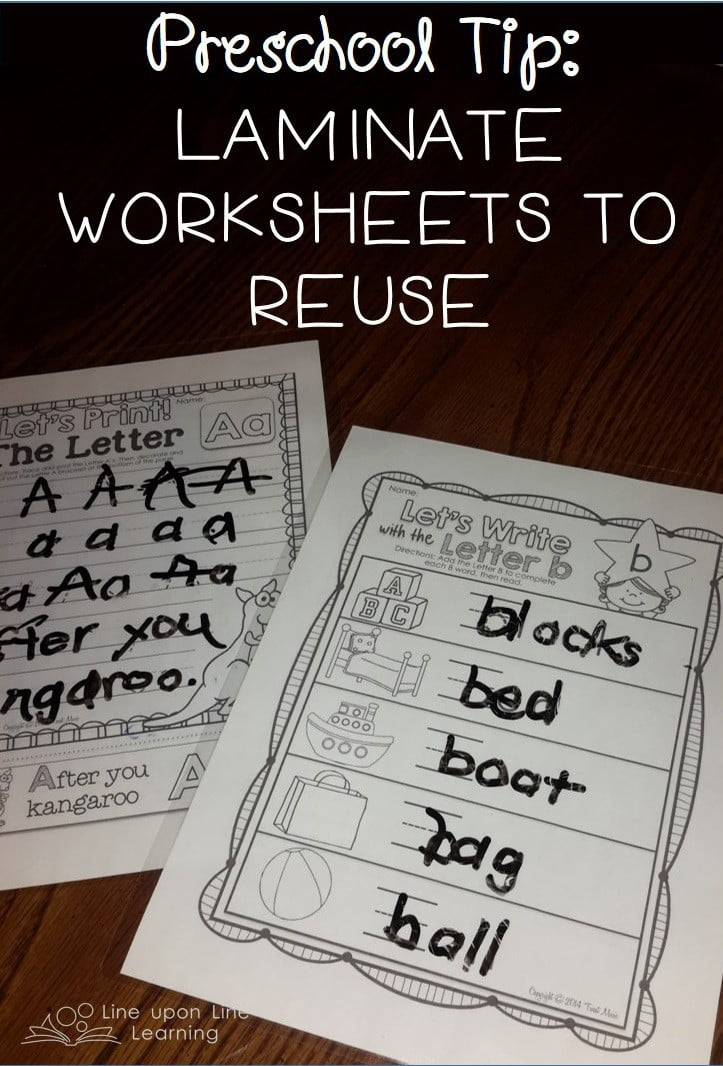 Laminate worksheets to reuse them!