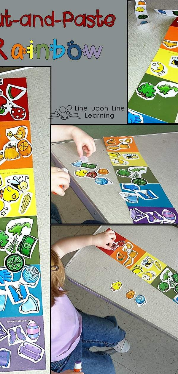 Practice color sorting by using a cut-and-paste activity. Great fine motor practice as well!