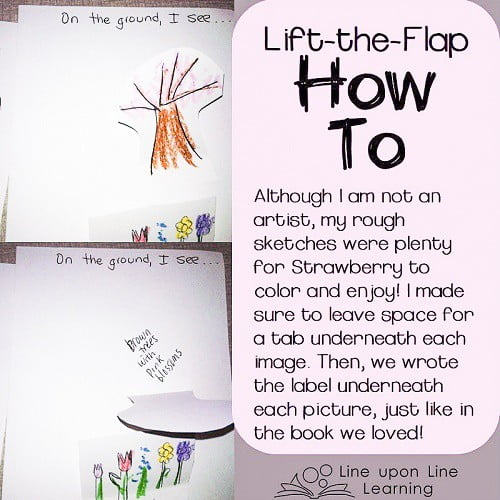 We made our own lift-the-flap book with our rudimentary drawing skills and glue.