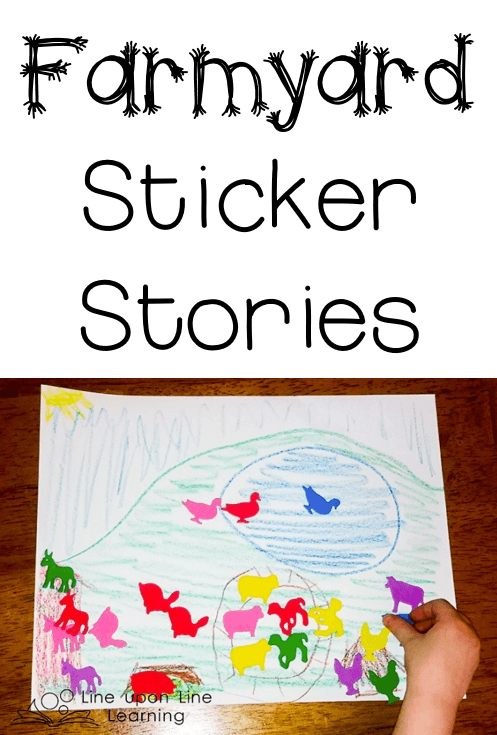 We used farm animal stickers to retell our favorite farmyard stories.
