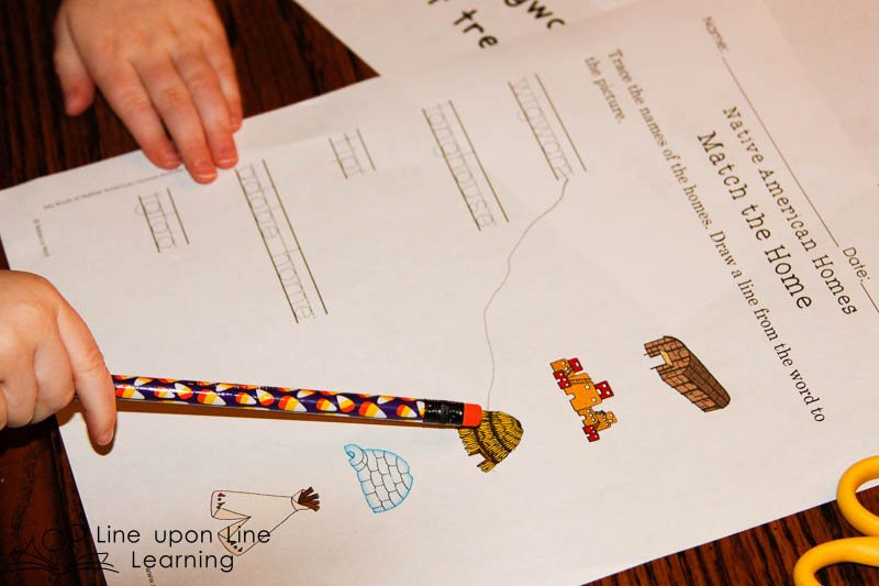 My Book of Native American Homes printables for the younger student provide words to trace and matching activities.
