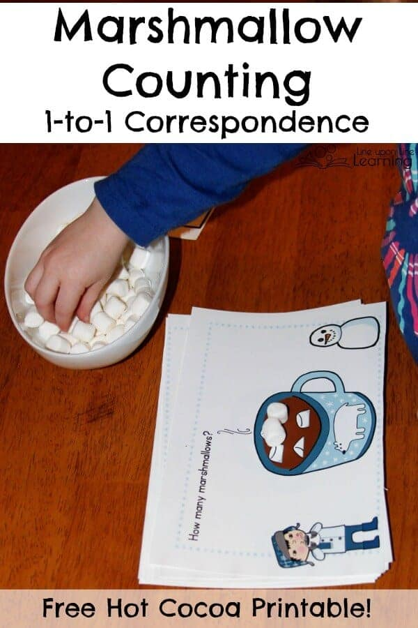 Marshmallow counting is great practice. With the free printable cards with cups of cocoa, preschoolers can practice 1-to-1 correspondence.