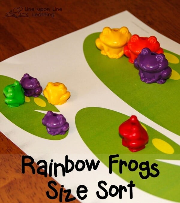 We played with our rainbow frogs to practice color and size sorting! A free printable is included for both frogs (lily pads) and bears (caves).