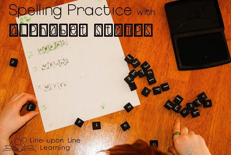 Spelling practice with alphabet stamps helps reinforce spelling knowledge in a hands on way. Line upon Line Learning