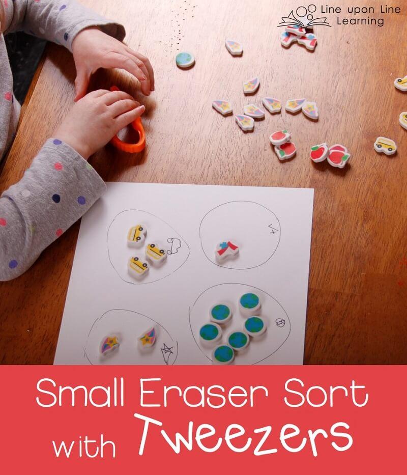 Using tweezers, my preschooler practiced sorting and counting small erasers.