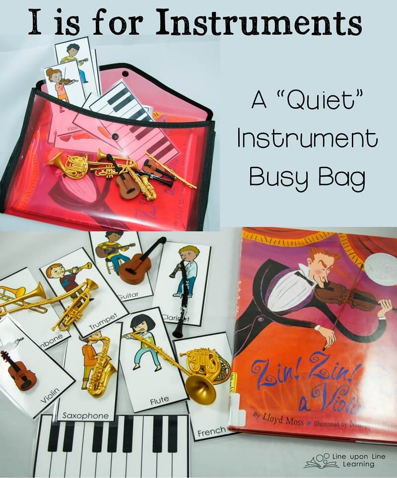 We used small plastic models of instruments and matching instrument cards to make an instruments busy bag.