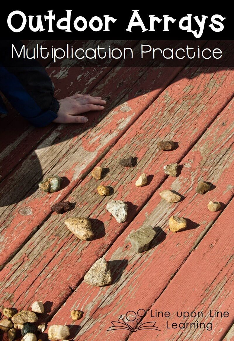 We used rocks to make outdoor arrays in practicing our multiplication concepts.