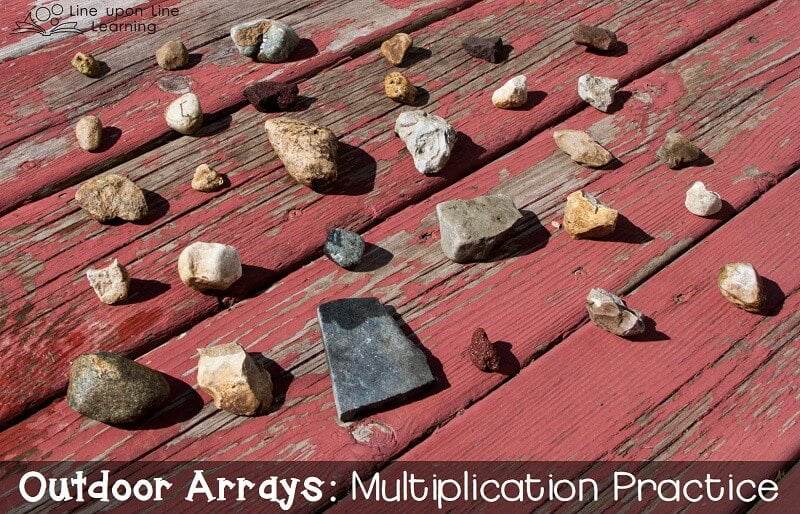 to make an outdoor array of 5 by 6, we used small rocks.