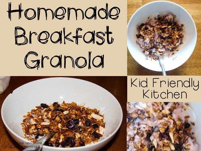 Our homemade (kid-made) breakfast granola is great with milk or yogurt, or even dry!
