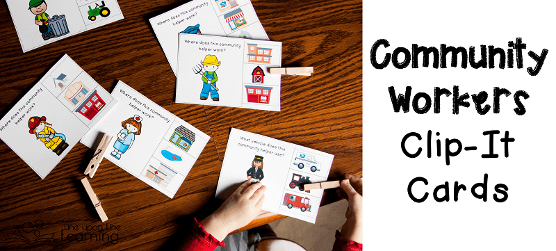 Matching the community worker to their place of business or their vehicle is a simple fine motor activity for a preschooler.