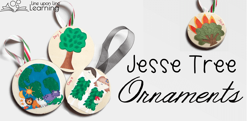 Using the printable images I bought, ModPodge, wooden circles, and ribbon, I made simple Jesse Tree ornaments to put on the tree all season long leading up to the celebration of Christmas.