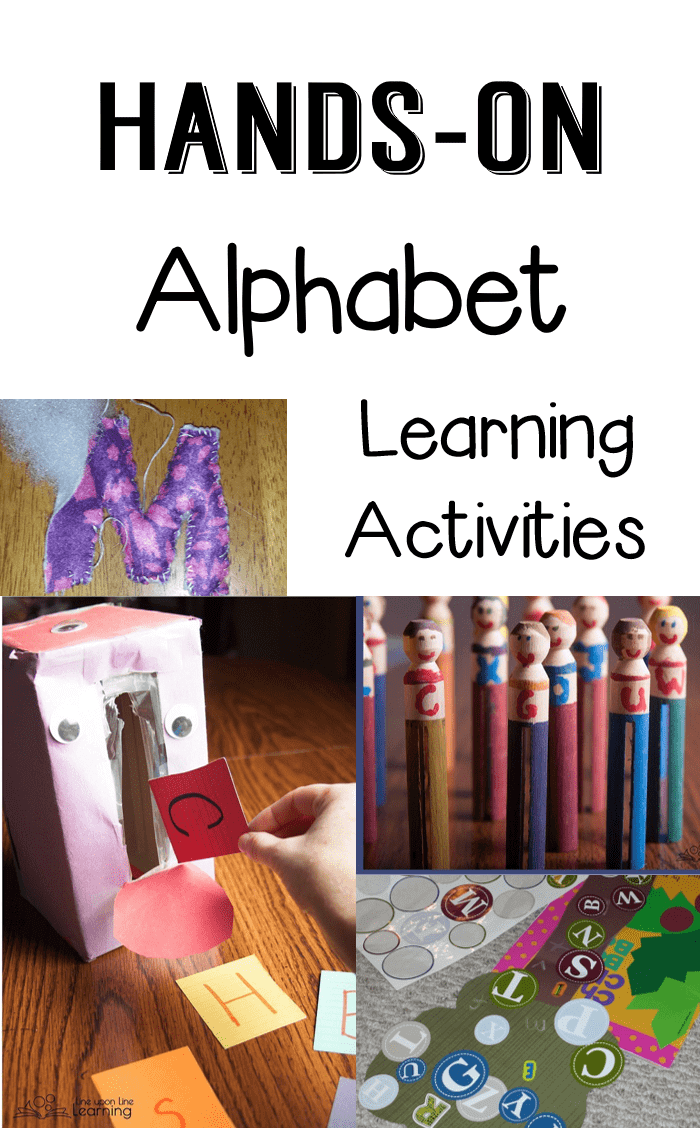 """We've had so fun with our alphabet learning activities, from the letter """"people"""" to the sticker games to the recycled """"monster."""" Truly hands-on!"""