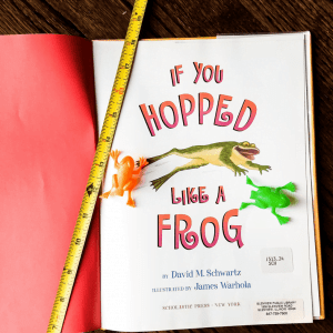 In our picture book-inspired frog hopping measurement activity, we predicted and tested how far we could get our plastic frogs to hop. One went 80 inches!