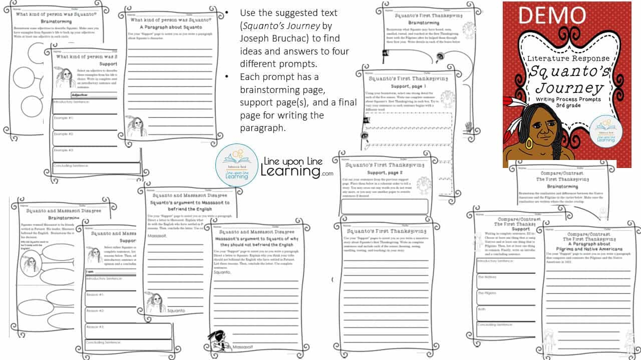 hight resolution of Thanksgiving Writing Prompts for 3rd grade (Squanto) – Line upon Line  Learning
