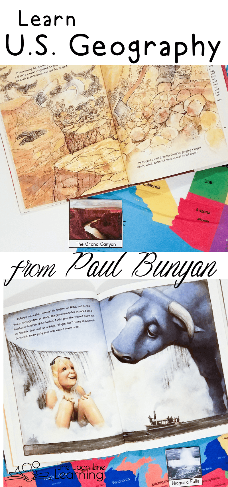 """As we read the tall tales about Paul Bunyan (and his family!) we find the places where he traveled and the landmarks that he """"created."""""""