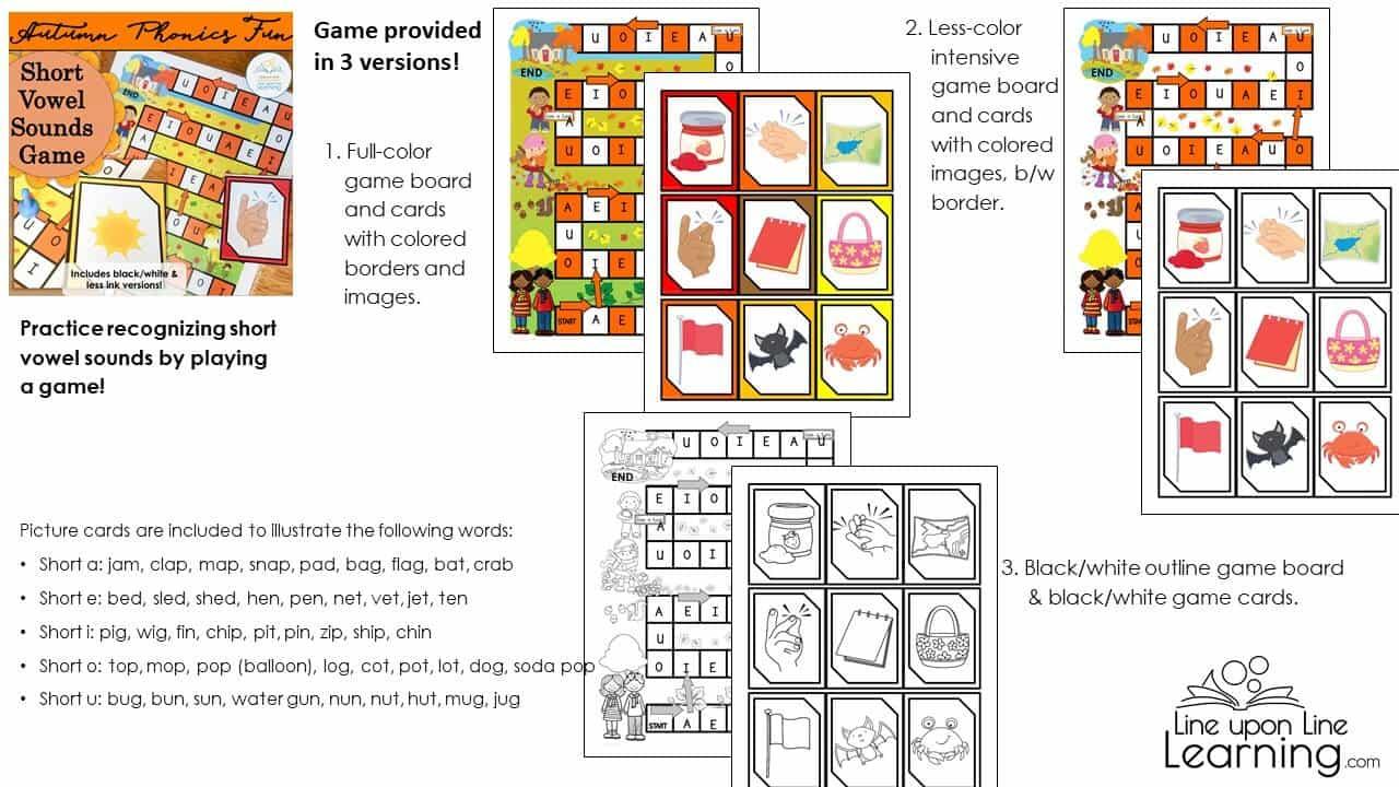 short vowel sound autumn game DEMO