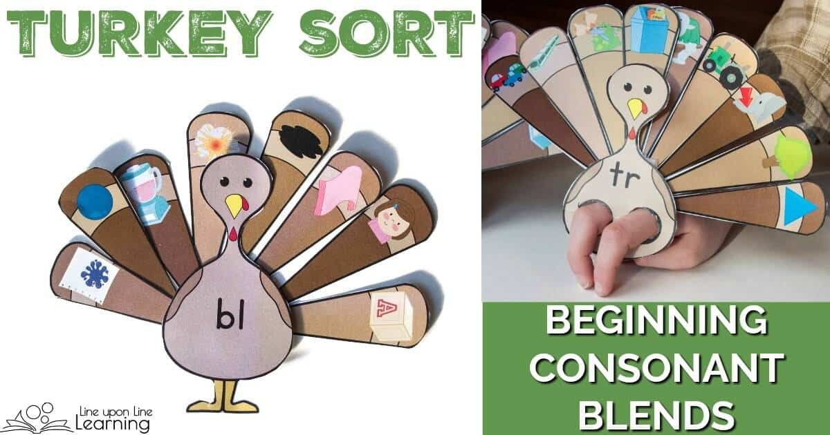 Practice recognizing different beginning consonant blends by sorting turkey feathers to the correct turkey! The beginning consonant blends games are so much fun!