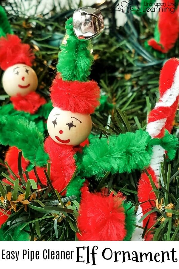 This easy to make pipe cleaner Christmas elf ornament is a great addition to the Christmas tree. And the kids love making their own elves!