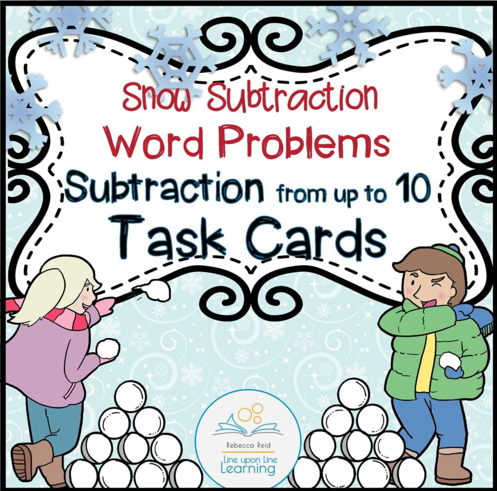 Snow Subtraction Word Problems Task Cards From Up To 10