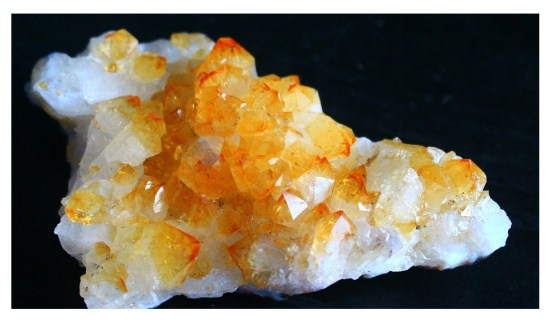 Photo of Citrine and Quartz Crystal Together.