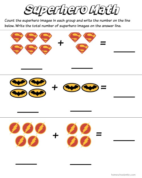 small resolution of Superhero Math: Kindergarten Addition Worksheet Printables - Homeschool  Antics