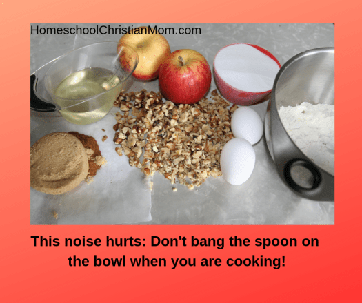 Cochlear implant: This noise hurts: don't bang the spoon on the bowl when you are cooking! Picture of ingredients for apple cake: apples, canola oil, chopped walnuts, flour, sugar, 2 eggs, brown sugar.