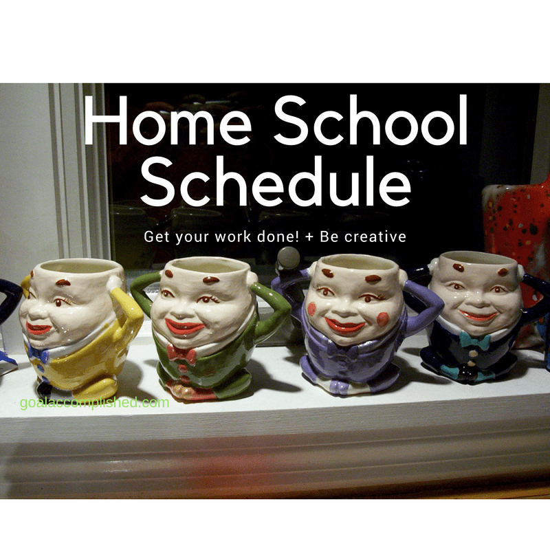 Four Humpty Dumpty mugs lined up on window ledge. These mugs show the creative side of our home school schedule.