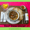This tasty Old-Fashioned Beef Stew Dinner is ready! The Asiago Artisan Bread is ready to dip in the spicy Moroccan Dipping Oil. The fresh pineapple chunks add a sweet ending to this savory meal.