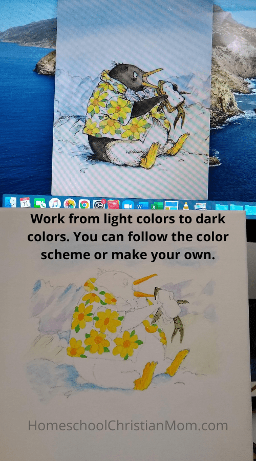 This picture shows the illustration of Tacky the penguin from a children's book and my partially done picture below it. Text reads: Work from light colors to dark colors. You can follow the color scheme or make your own.