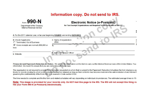 New Website For Filing Irs Annual Epostcard Form 990 N