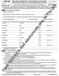 Form1023-EZ page 1