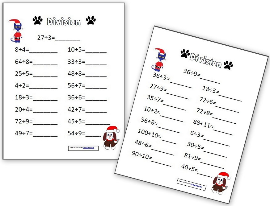 Pete the Cat Multiplication and Division Pages