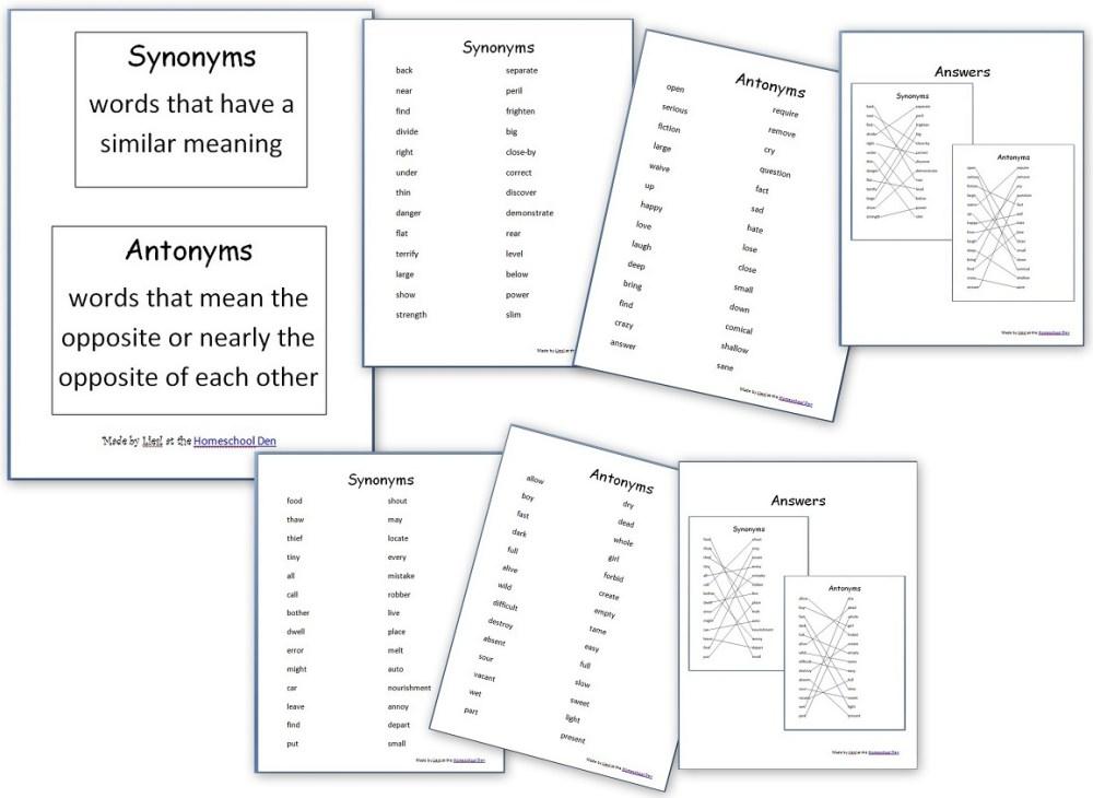 medium resolution of Grammar Worksheets: Synonyms and Antonyms - Homeschool Den