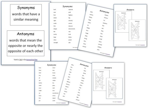 small resolution of Grammar Worksheets: Synonyms and Antonyms - Homeschool Den