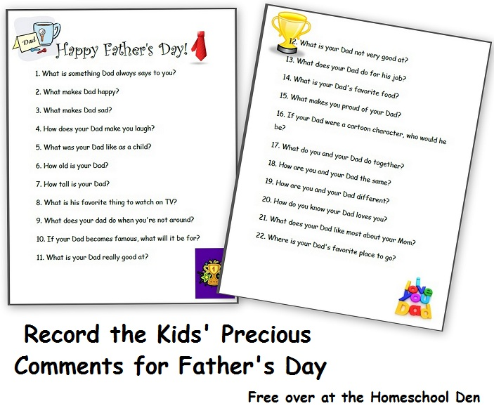 Record the Kids' Precious Thoughts for Father's Day