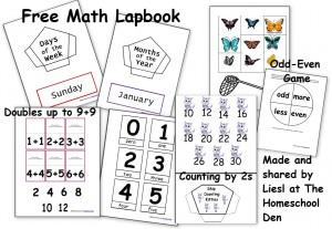 Free Daily Calendar Page + Math Lapbook Activities