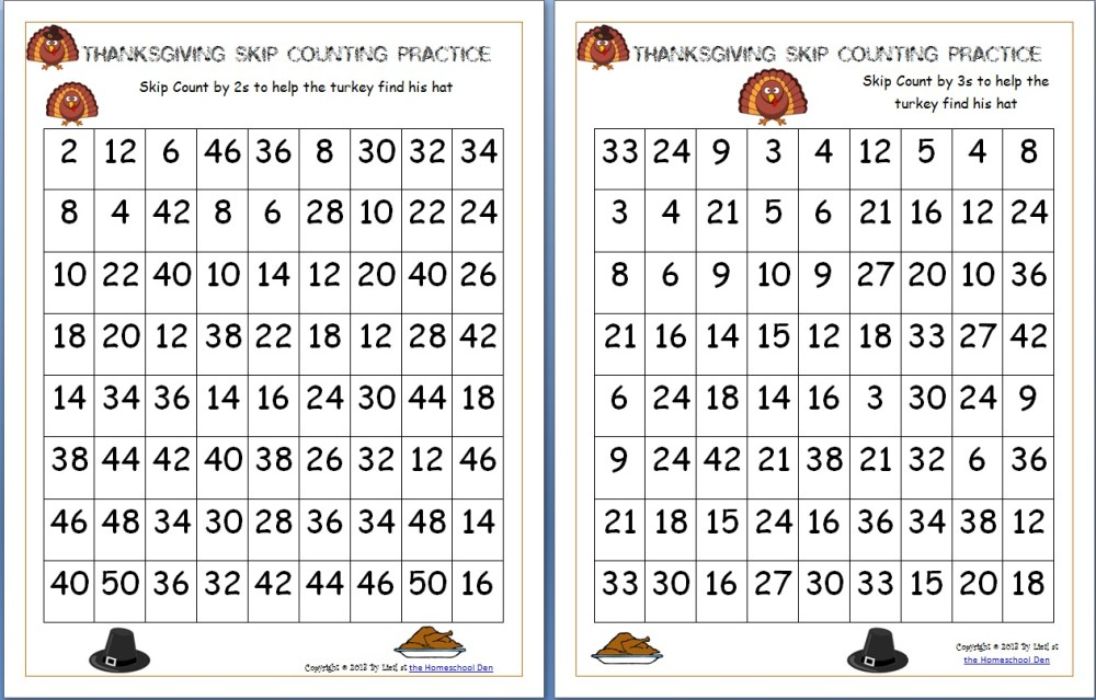 medium resolution of Thanksgiving Skip Counting Mazes 2s