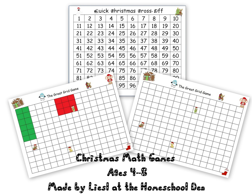 Free Christmas Math Games (Double Digit Number Game, Grid