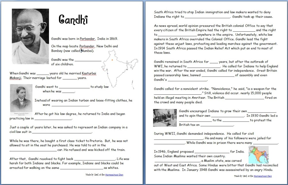 medium resolution of Gandhi (Free Worksheets/Notebook Pages) - Homeschool Den