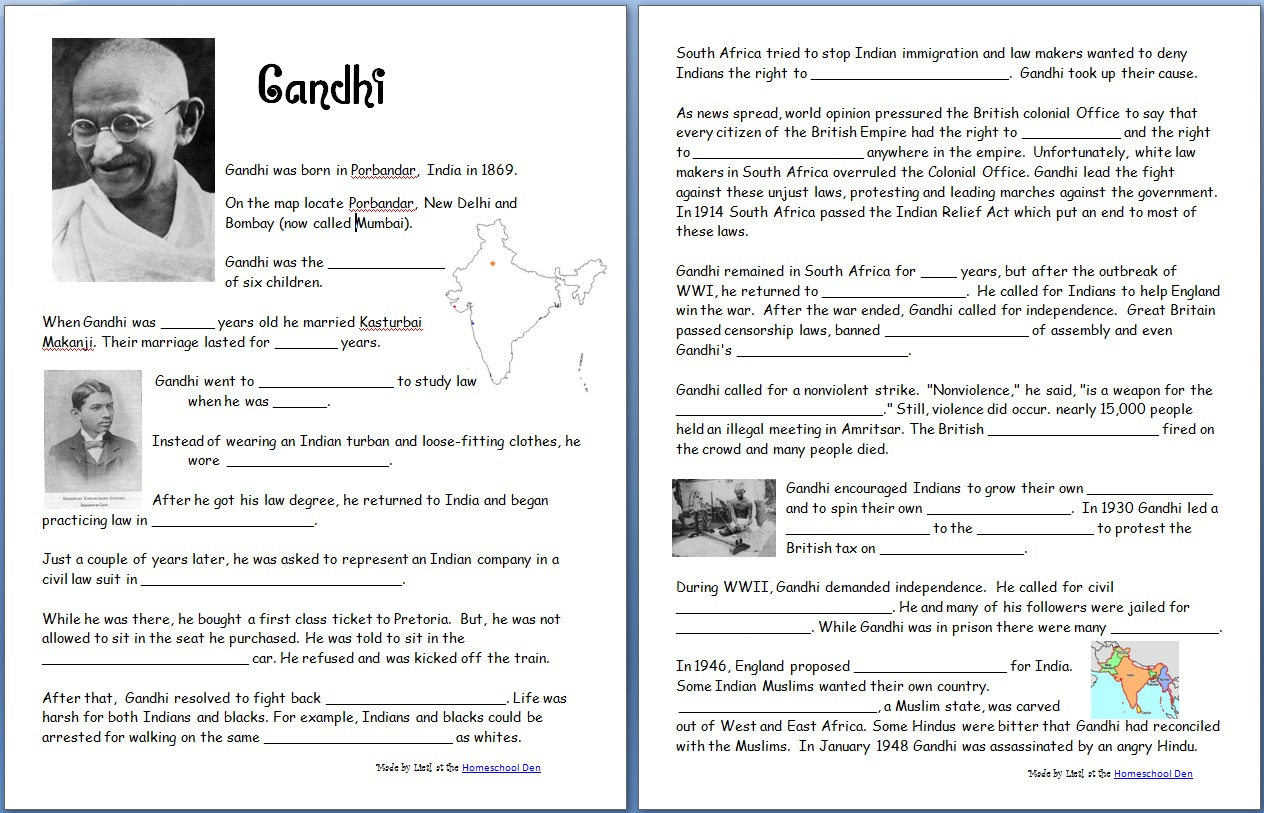 hight resolution of Gandhi (Free Worksheets/Notebook Pages) - Homeschool Den