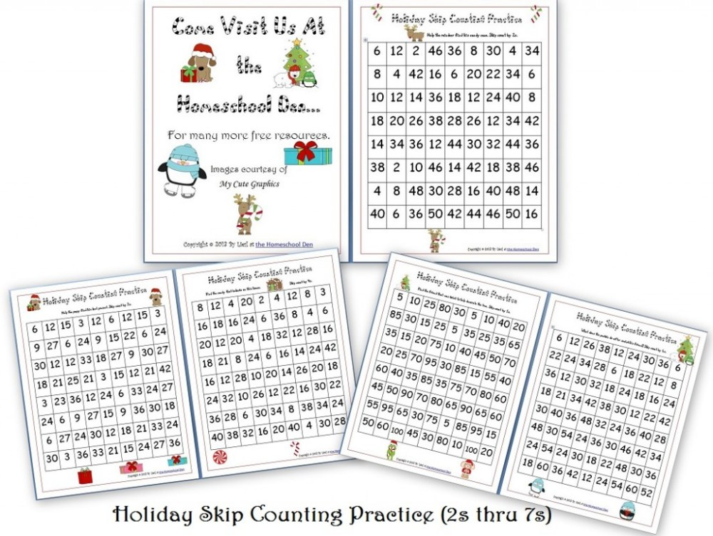 medium resolution of Free Holiday Skip Counting Pages (2s thru 7s) - Homeschool Den