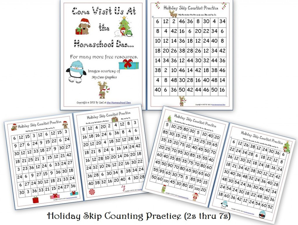 hight resolution of Free Holiday Skip Counting Pages (2s thru 7s) - Homeschool Den