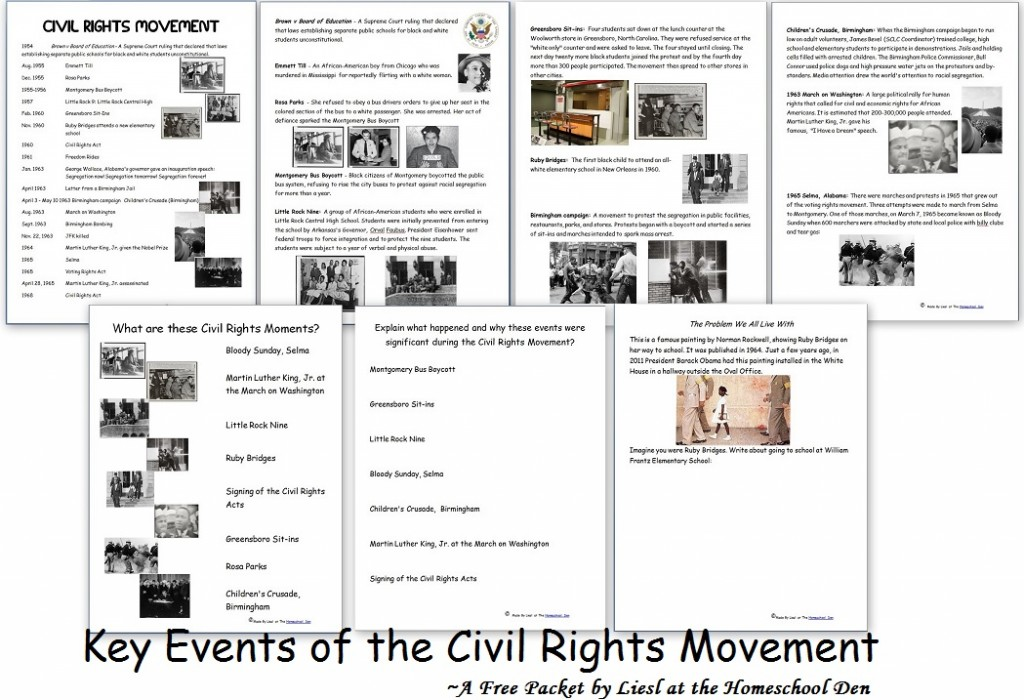 Key Events of the Civil Rights Movement (Free Packet