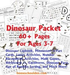 Dinosaur Packet for 3-7 Year Olds - Homeschool Den [ 1024 x 1024 Pixel ]