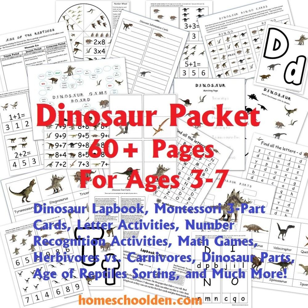 medium resolution of Dinosaur Packet for 3-7 Year Olds - Homeschool Den