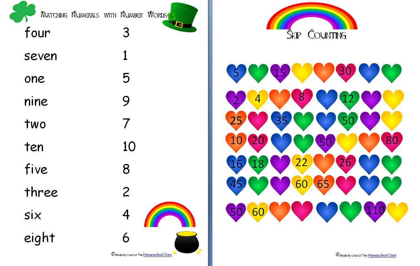 St Patrick S Day Number Words Activities Free