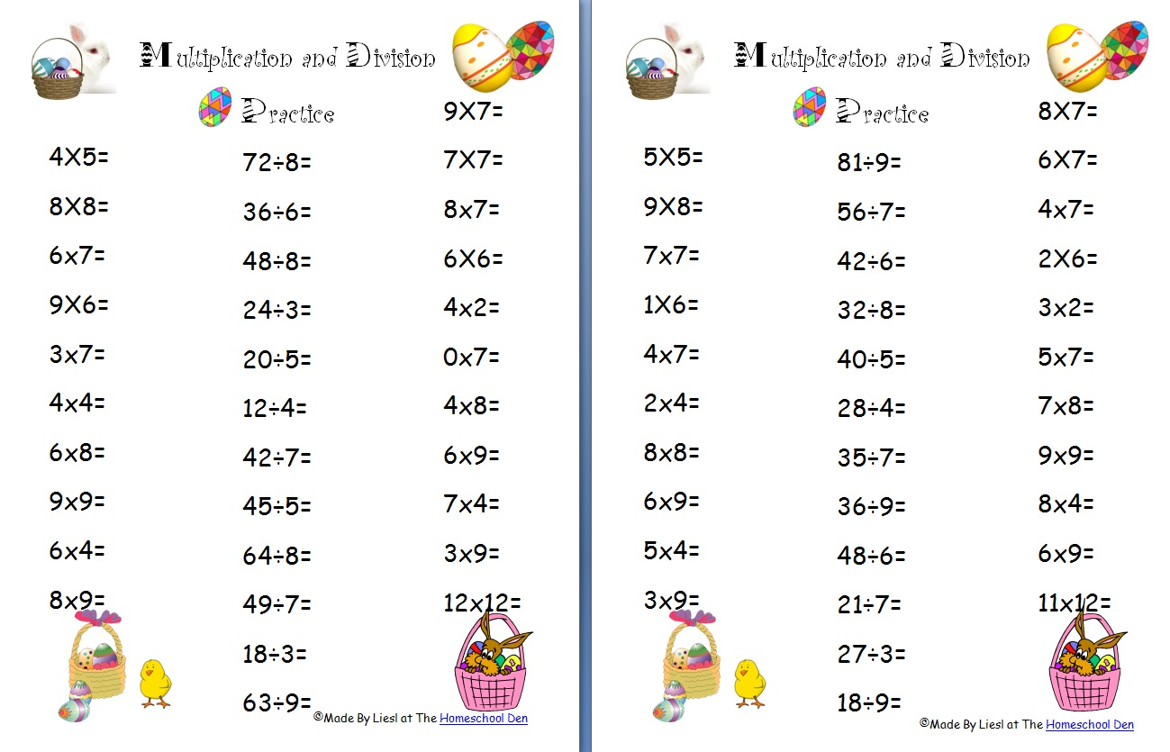 Free Easter Multiplication And Division Worksheets