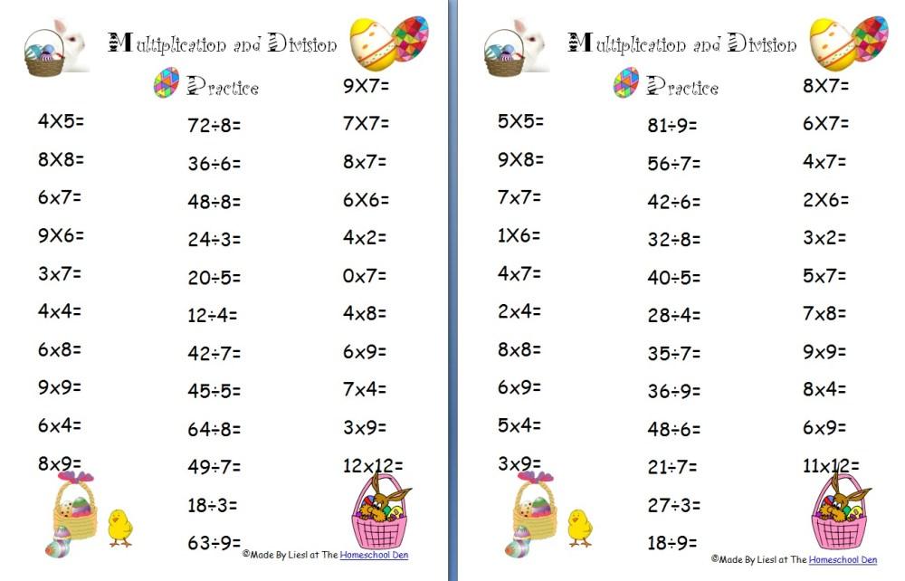medium resolution of free Easter division worksheet Archives - Homeschool Den