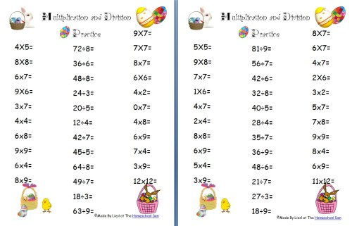 small resolution of Free Easter Multiplication and Division Worksheets - Homeschool Den